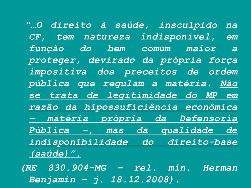 …O direito à saúde, insculpido na CF, tem natureza indisponível, em função do bem comum maior a proteger, devirado da própria força impositiva dos pre