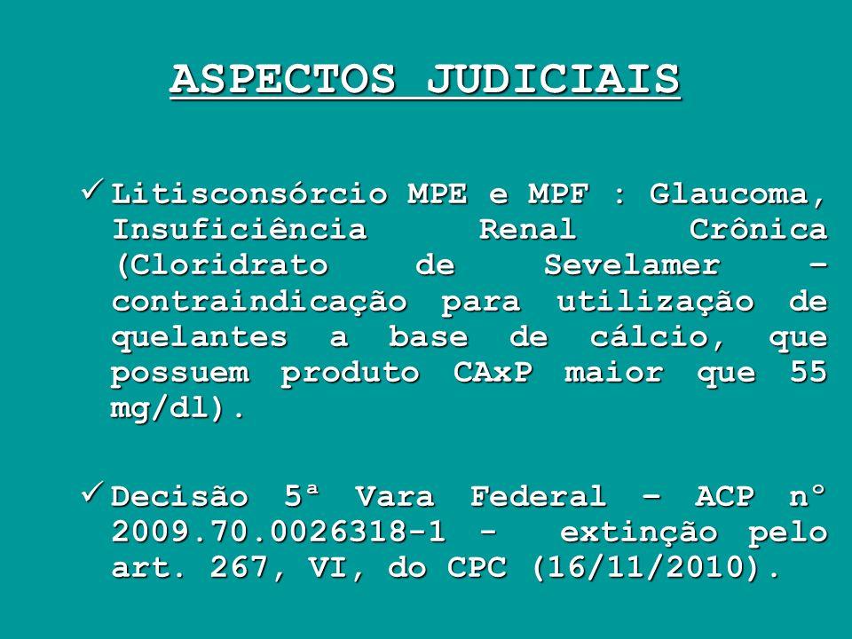 ASPECTOS JUDICIAIS Litisconsórcio MPE e MPF : Glaucoma, Insuficiência Renal Crônica (Cloridrato de Sevelamer – contraindicação para utilização de quel