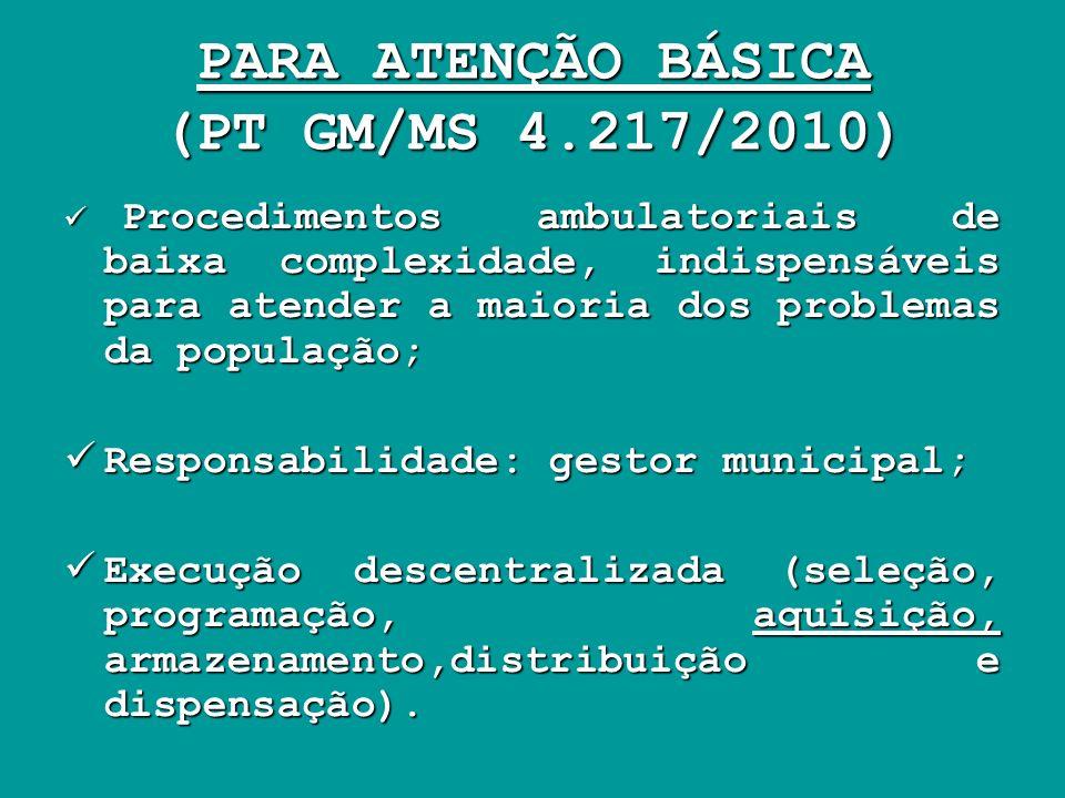 PARA ATENÇÃO BÁSICA (PT GM/MS 4.217/2010) Procedimentos ambulatoriais de baixa complexidade, indispensáveis para atender a maioria dos problemas da po