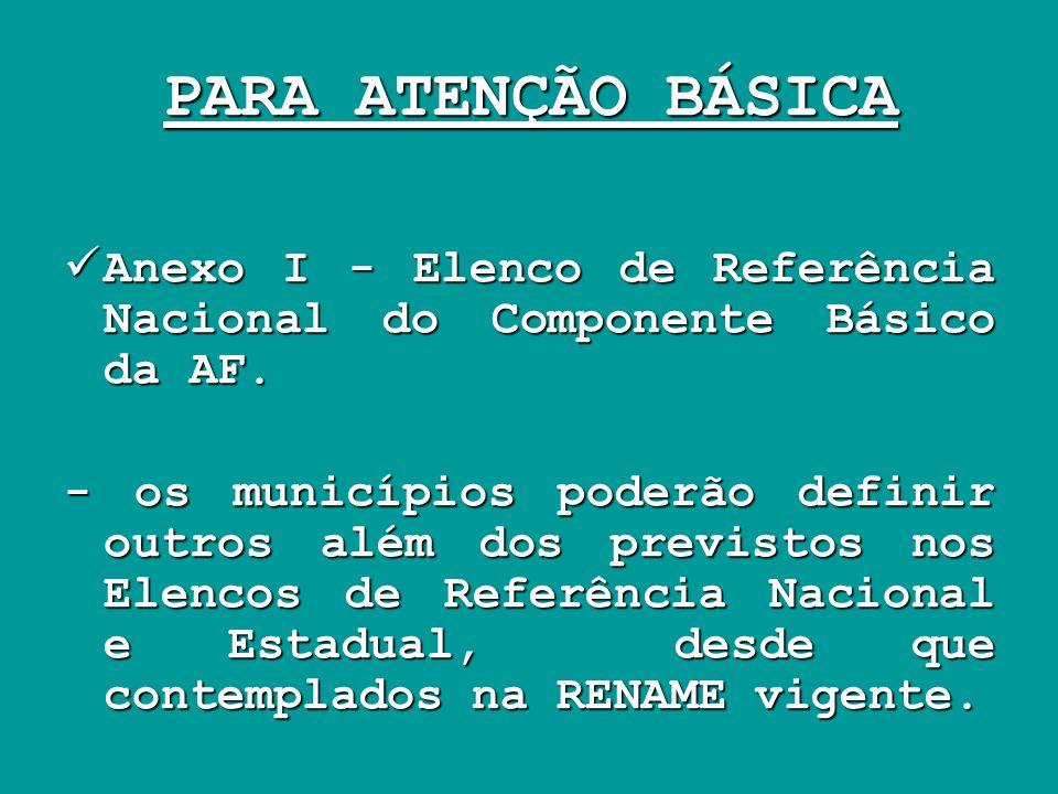 PARA ATENÇÃO BÁSICA Anexo I - Elenco de Referência Nacional do Componente Básico da AF. Anexo I - Elenco de Referência Nacional do Componente Básico d