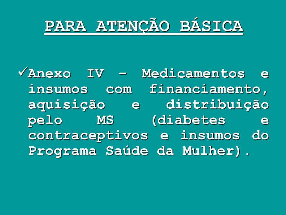 PARA ATENÇÃO BÁSICA Anexo IV – Medicamentos e insumos com financiamento, aquisição e distribuição pelo MS (diabetes e contraceptivos e insumos do Prog