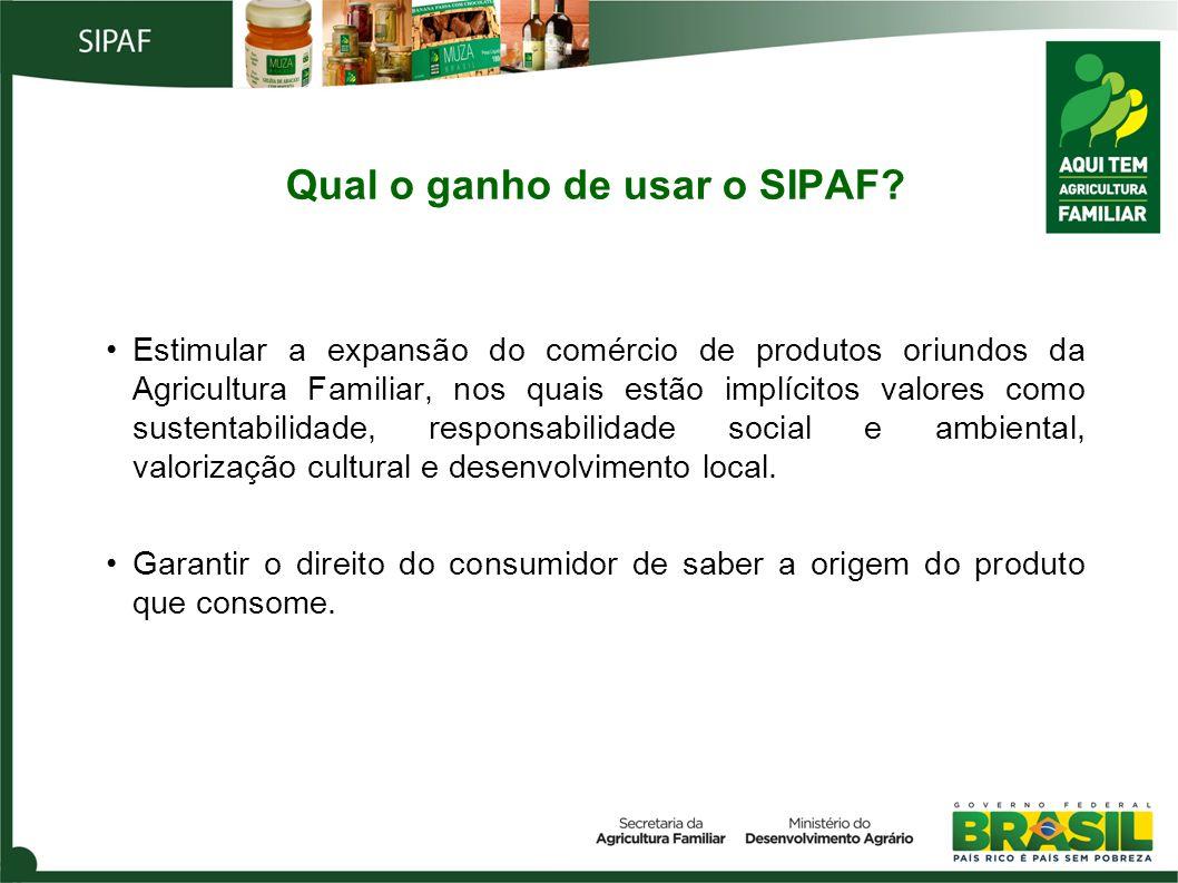 Qual o ganho de usar o SIPAF? Estimular a expansão do comércio de produtos oriundos da Agricultura Familiar, nos quais estão implícitos valores como s