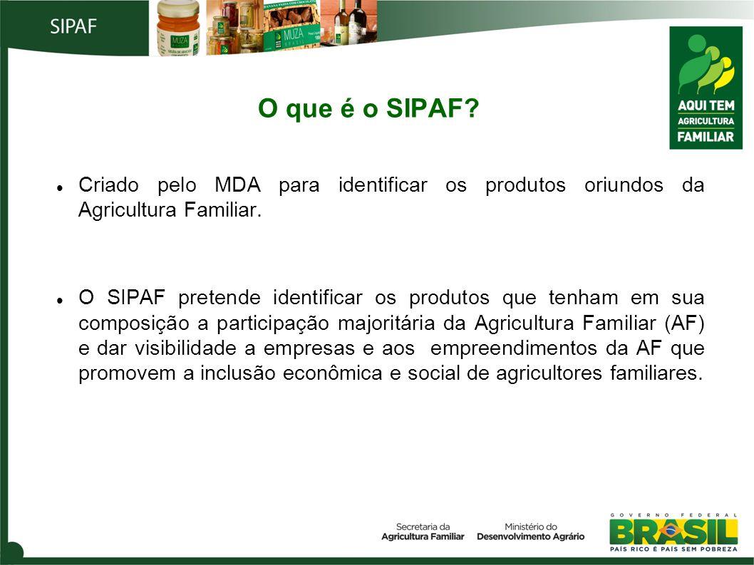 O que é o SIPAF? Criado pelo MDA para identificar os produtos oriundos da Agricultura Familiar. O SIPAF pretende identificar os produtos que tenham em
