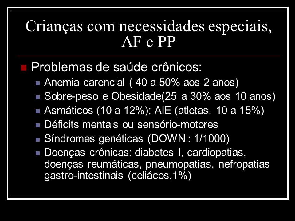 Crianças com necessidades especiais, AF e PP Problemas de saúde crônicos: Anemia carencial ( 40 a 50% aos 2 anos) Sobre-peso e Obesidade(25 a 30% aos