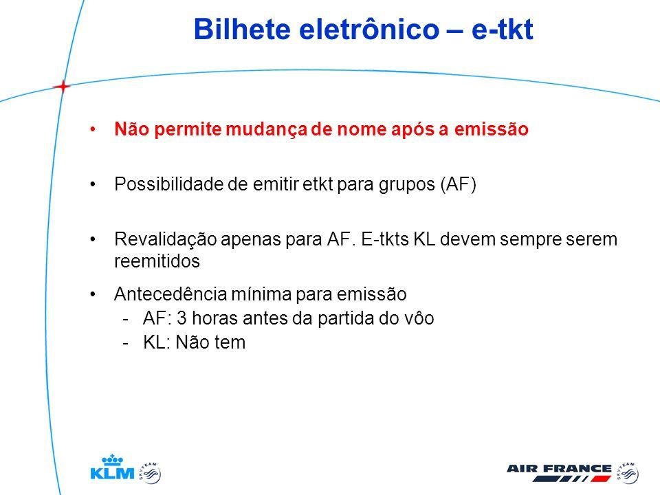 Bilhete eletrônico – e-tkt Não permite mudança de nome após a emissão Possibilidade de emitir etkt para grupos (AF) Revalidação apenas para AF. E-tkts