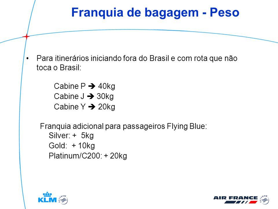 Franquia de bagagem - Peso Para itinerários iniciando fora do Brasil e com rota que não toca o Brasil: Cabine P 40kg Cabine J 30kg Cabine Y 20kg Franq