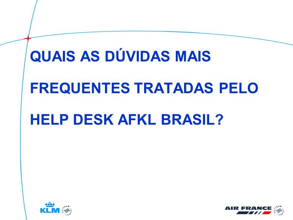 QUAIS AS DÚVIDAS MAIS FREQUENTES TRATADAS PELO HELP DESK AFKL BRASIL?