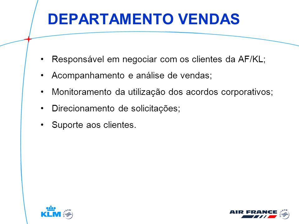 DEPARTAMENTO VENDAS Responsável em negociar com os clientes da AF/KL; Acompanhamento e análise de vendas; Monitoramento da utilização dos acordos corp
