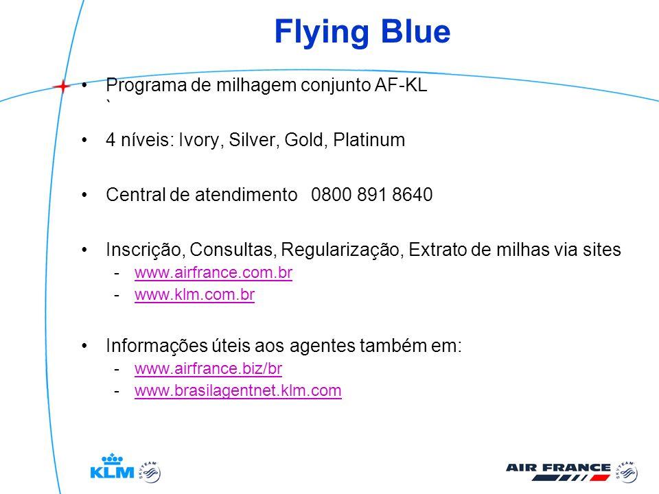 Flying Blue Programa de milhagem conjunto AF-KL ` 4 níveis: Ivory, Silver, Gold, Platinum Central de atendimento 0800 891 8640 Inscrição, Consultas, R
