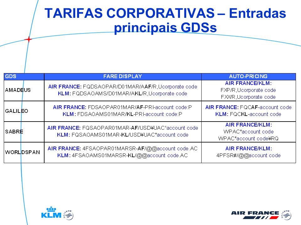 TARIFAS CORPORATIVAS – Classes correspondentes AFKL