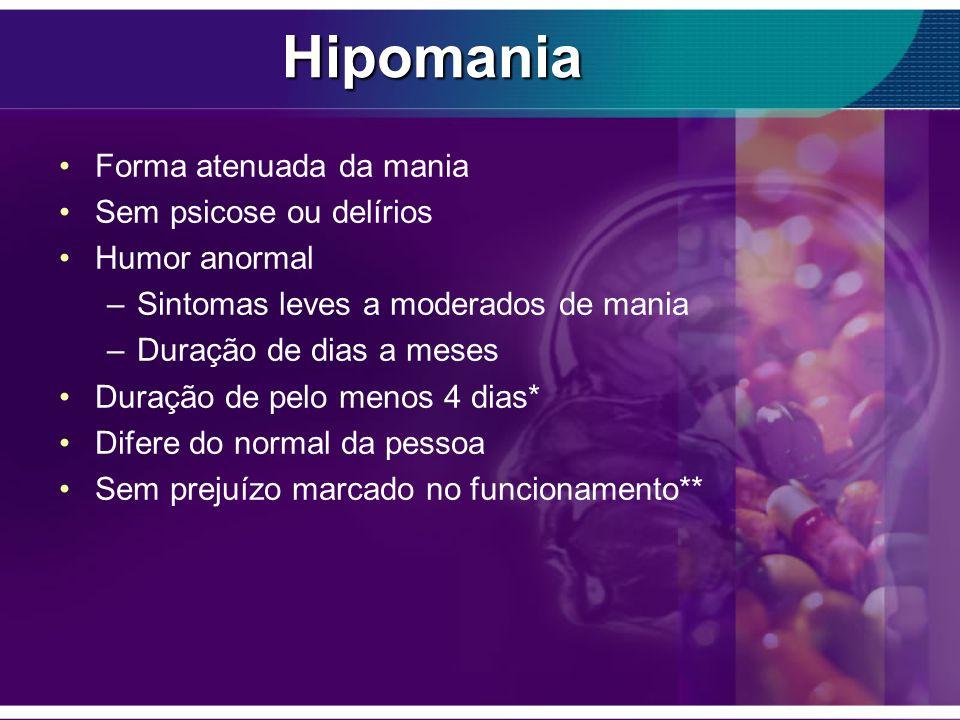 Hipomania Forma atenuada da mania Sem psicose ou delírios Humor anormal –Sintomas leves a moderados de mania –Duração de dias a meses Duração de pelo