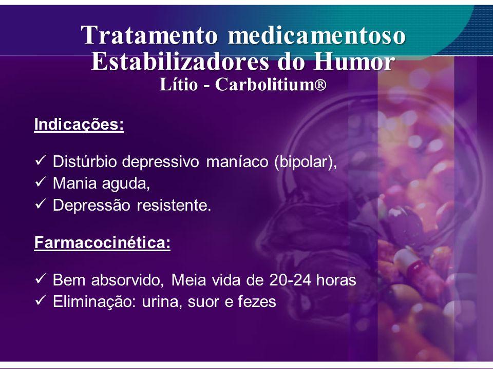 Tratamento medicamentoso Estabilizadores do Humor Lítio - Carbolitium Tratamento medicamentoso Estabilizadores do Humor Lítio - Carbolitium Indicações