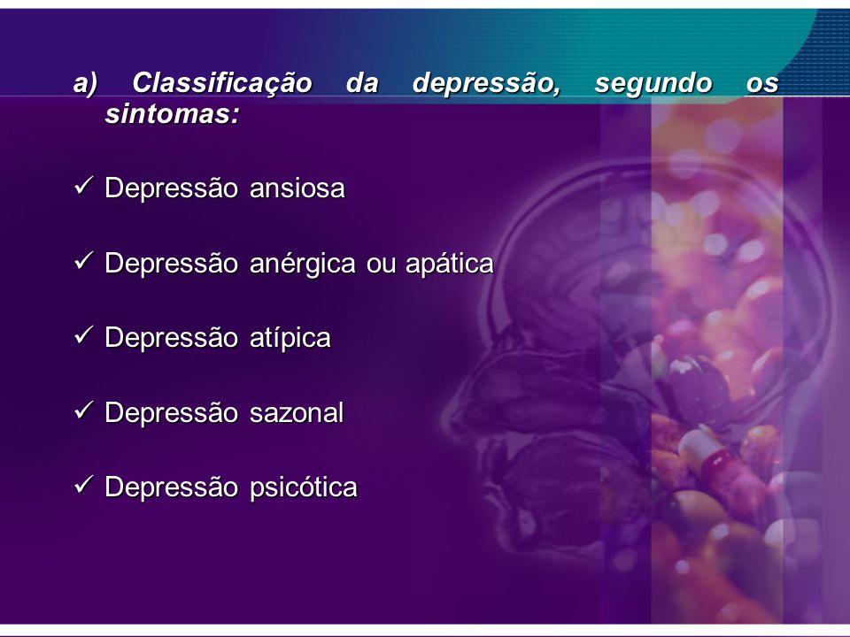 a) Classificação da depressão, segundo os sintomas: Depressão ansiosa Depressão ansiosa Depressão anérgica ou apática Depressão anérgica ou apática De