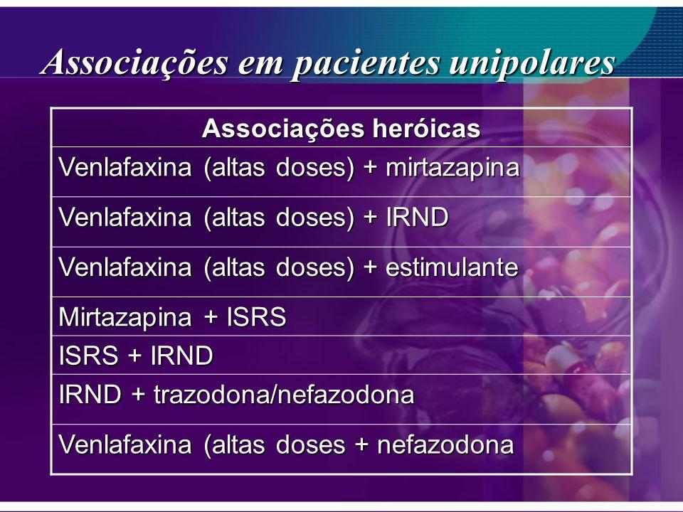Associações em pacientes unipolares Associações heróicas Venlafaxina (altas doses) + mirtazapina Venlafaxina (altas doses) + IRND Venlafaxina (altas d