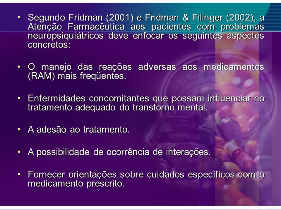 Segundo Fridman (2001) e Fridman & Filinger (2002), a Atenção Farmacêutica aos pacientes com problemas neuropsiquiátricos deve enfocar os seguintes as