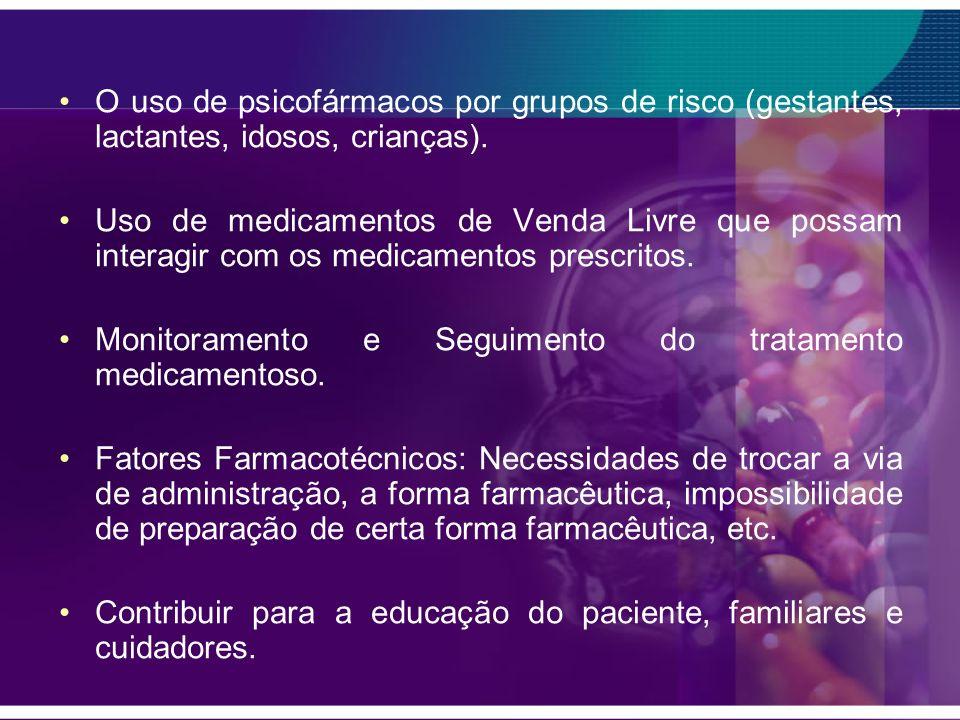 O uso de psicofármacos por grupos de risco (gestantes, lactantes, idosos, crianças). Uso de medicamentos de Venda Livre que possam interagir com os me