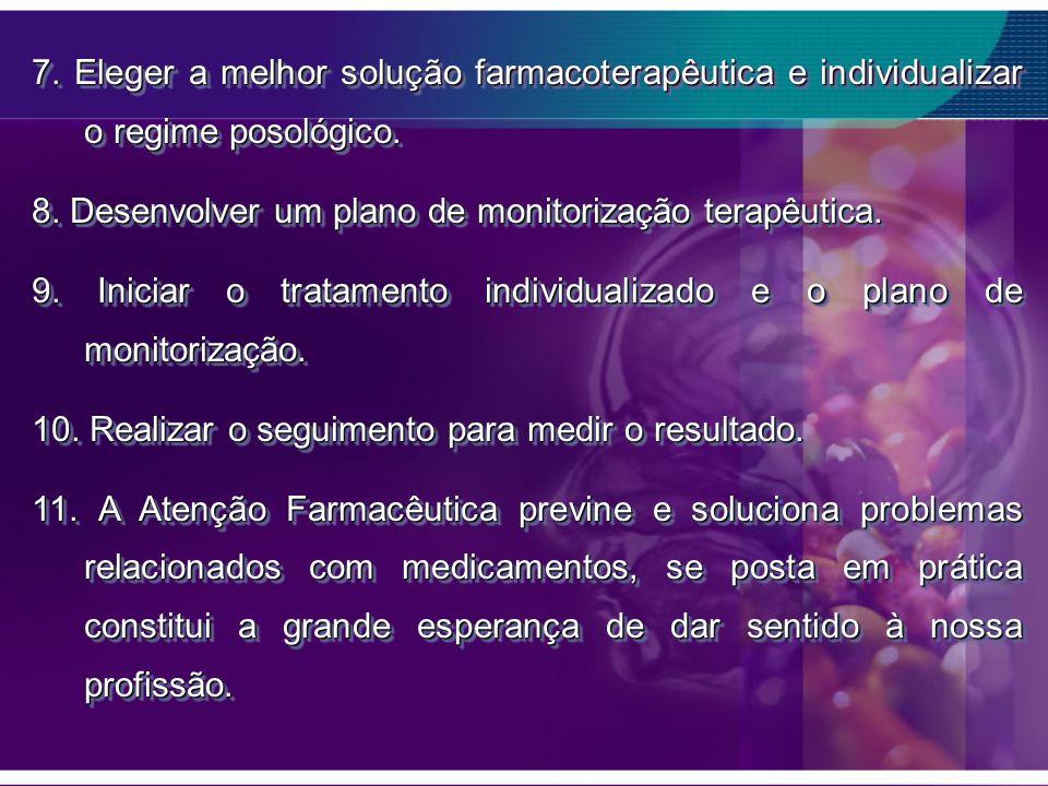 7. Eleger a melhor solução farmacoterapêutica e individualizar o regime posológico. 8. Desenvolver um plano de monitorização terapêutica. 9. Iniciar o