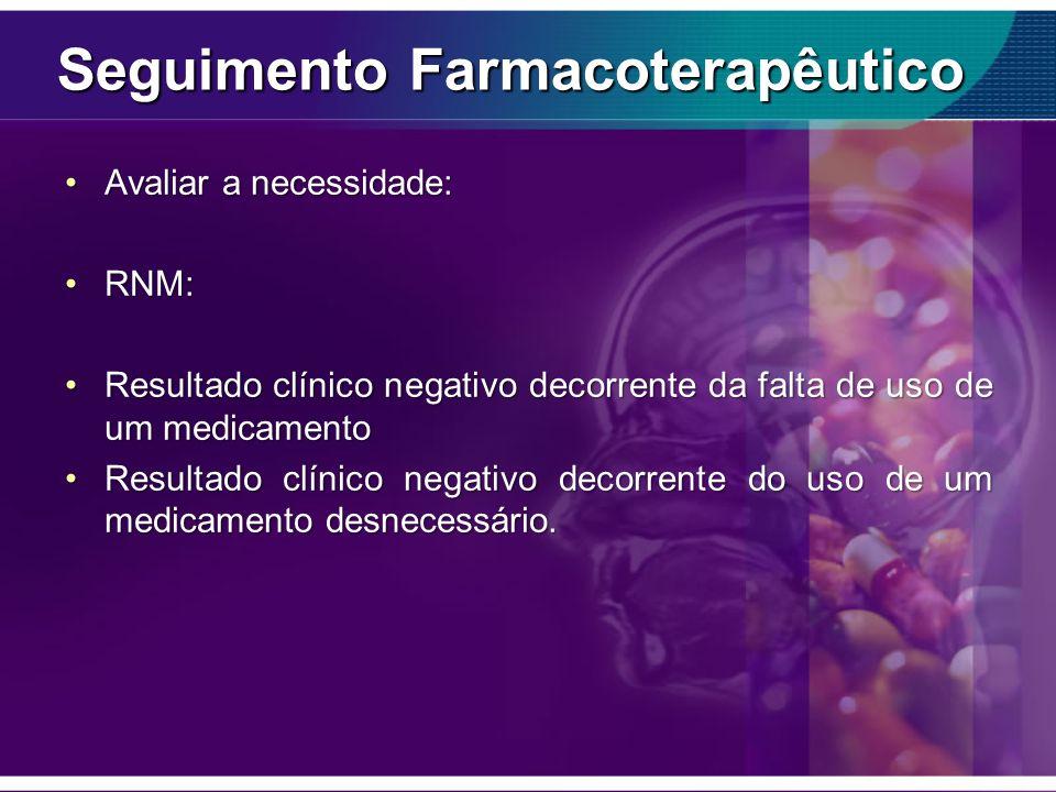 Seguimento Farmacoterapêutico Avaliar a necessidade:Avaliar a necessidade: RNM:RNM: Resultado clínico negativo decorrente da falta de uso de um medica