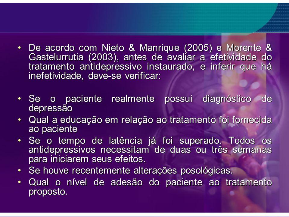 De acordo com Nieto & Manrique (2005) e Morente & Gastelurrutia (2003), antes de avaliar a efetividade do tratamento antidepressivo instaurado, e infe
