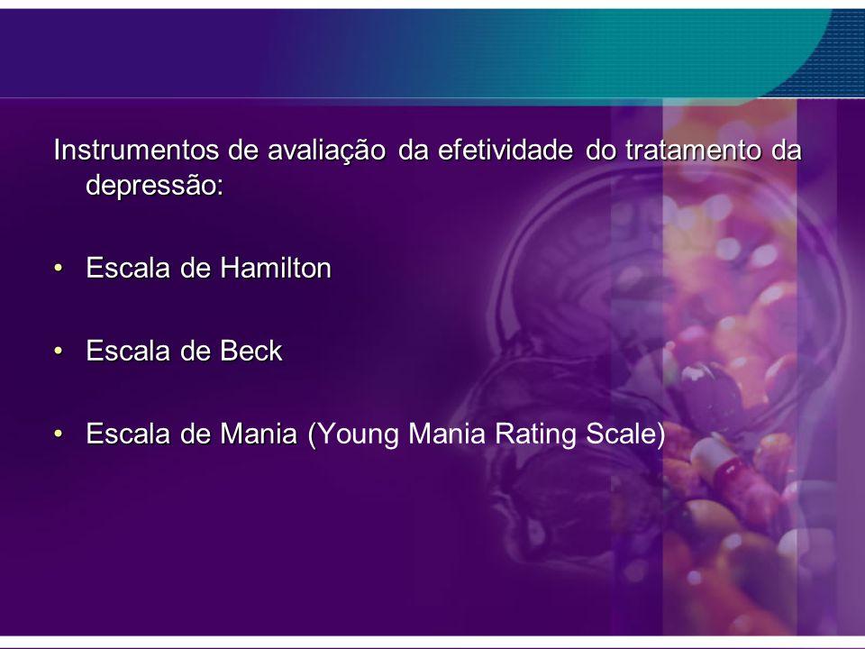 Instrumentos de avaliação da efetividade do tratamento da depressão: Escala de HamiltonEscala de Hamilton Escala de BeckEscala de Beck Escala de Mania