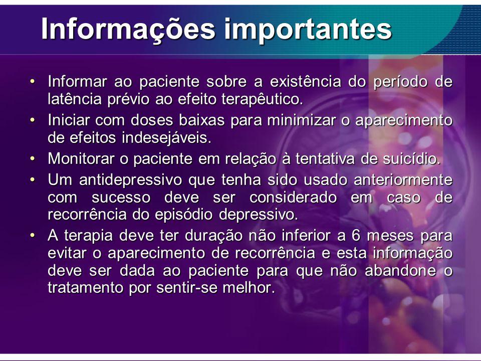 Informações importantes Informar ao paciente sobre a existência do período de latência prévio ao efeito terapêutico.Informar ao paciente sobre a exist