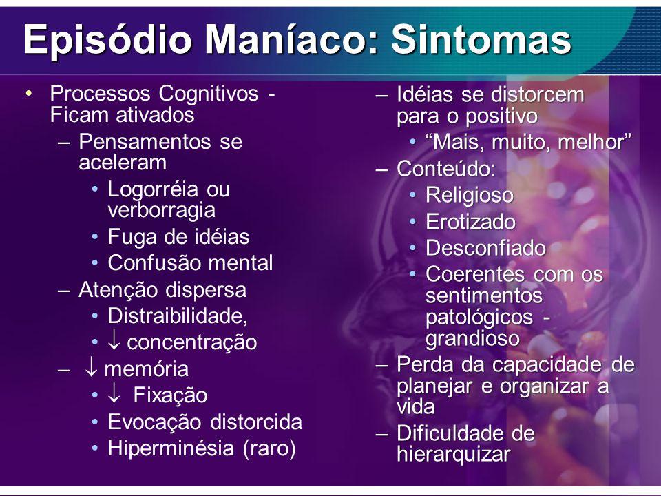 Episódio Maníaco: Sintomas Processos Cognitivos - Ficam ativados –Pensamentos se aceleram Logorréia ou verborragia Fuga de idéias Confusão mental –Ate