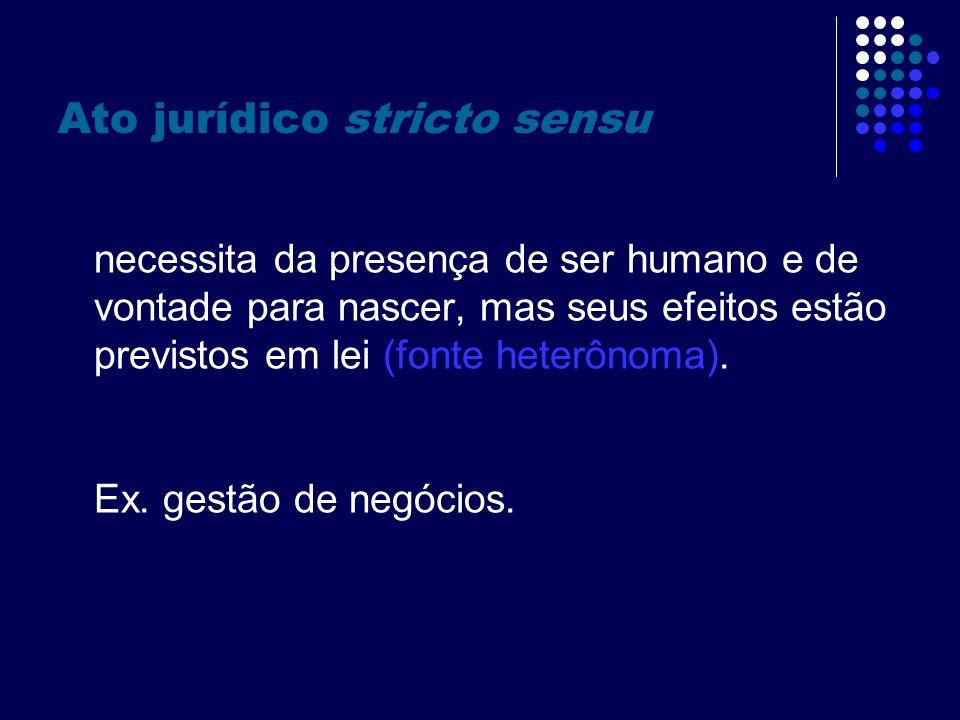 Negócio jurídico necessita da presença de ser humano e de vontade para existir, e, além disso, autonomia para estipular seus efeitos (fonte autônoma).