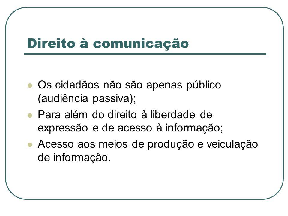 Direito à comunicação Os cidadãos não são apenas público (audiência passiva); Para além do direito à liberdade de expressão e de acesso à informação;