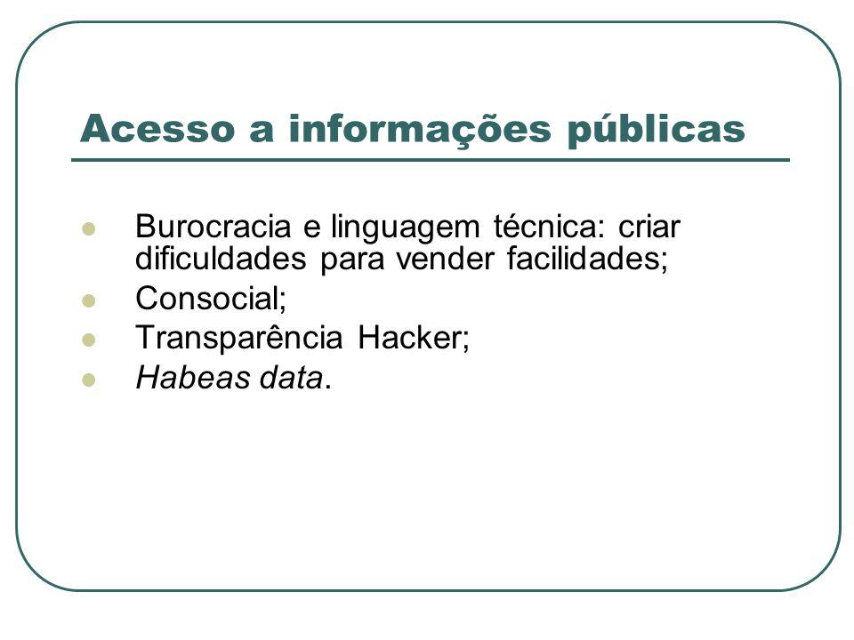 Acesso a informações públicas Burocracia e linguagem técnica: criar dificuldades para vender facilidades; Consocial; Transparência Hacker; Habeas data