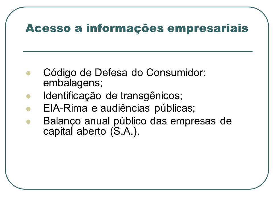 Acesso a informações empresariais Código de Defesa do Consumidor: embalagens; Identificação de transgênicos; EIA-Rima e audiências públicas; Balanço a