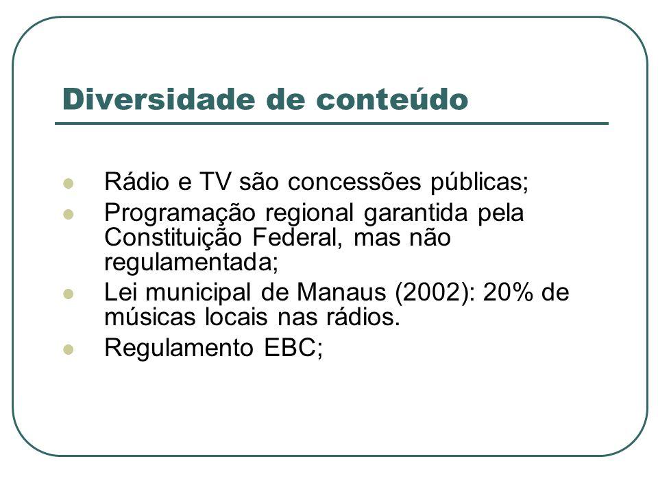 Diversidade de conteúdo Rádio e TV são concessões públicas; Programação regional garantida pela Constituição Federal, mas não regulamentada; Lei munic