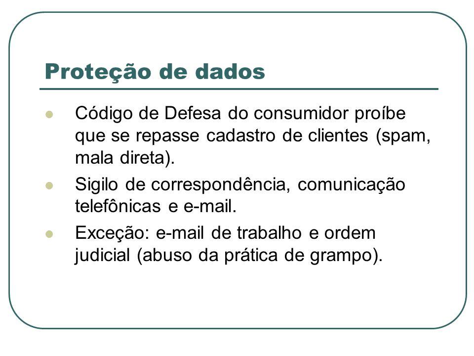 Proteção de dados Código de Defesa do consumidor proíbe que se repasse cadastro de clientes (spam, mala direta). Sigilo de correspondência, comunicaçã