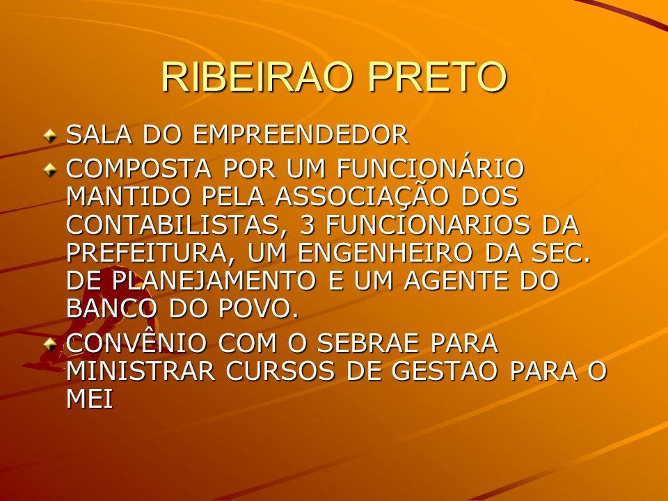 RIBEIRAO PRETO SALA DO EMPREENDEDOR COMPOSTA POR UM FUNCIONÁRIO MANTIDO PELA ASSOCIAÇÃO DOS CONTABILISTAS, 3 FUNCIONARIOS DA PREFEITURA, UM ENGENHEIRO