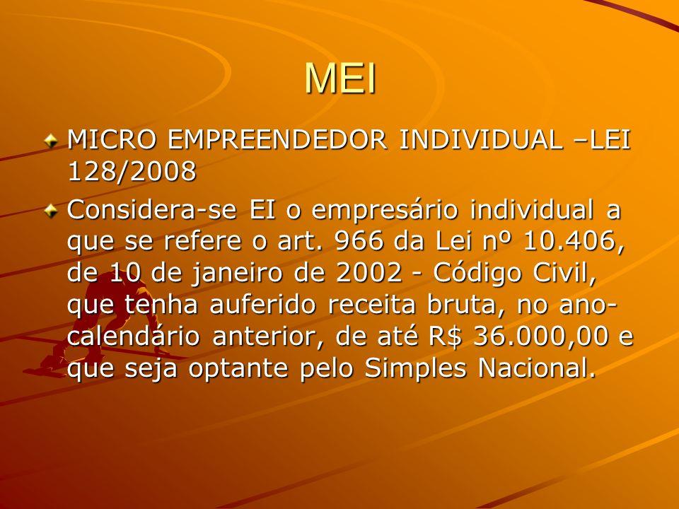 MEI MICRO EMPREENDEDOR INDIVIDUAL –LEI 128/2008 Considera-se EI o empresário individual a que se refere o art. 966 da Lei nº 10.406, de 10 de janeiro