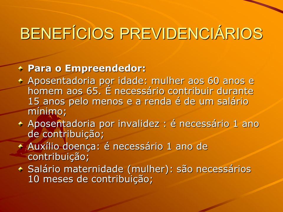 BENEFÍCIOS PREVIDENCIÁRIOS Para o Empreendedor: Aposentadoria por idade: mulher aos 60 anos e homem aos 65. É necessário contribuir durante 15 anos pe