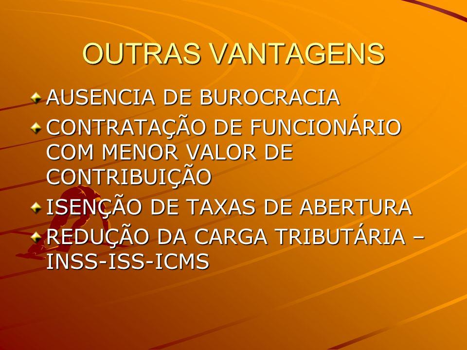 OUTRAS VANTAGENS AUSENCIA DE BUROCRACIA CONTRATAÇÃO DE FUNCIONÁRIO COM MENOR VALOR DE CONTRIBUIÇÃO ISENÇÃO DE TAXAS DE ABERTURA REDUÇÃO DA CARGA TRIBU