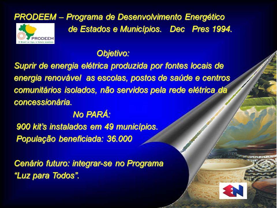 Eletronorte PRODEEM – Programa de Desenvolvimento Energético de Estados e Municípios. Dec Pres 1994. de Estados e Municípios. Dec Pres 1994. Objetivo: