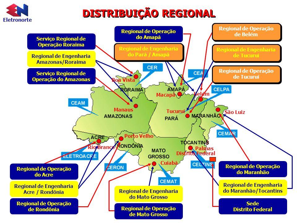 Eletronorte DISTRIBUIÇÃO REGIONAL Regional de Operação do Amapá Cuiabá Tucuruí Belém São Luiz Palmas Porto Velho Rio Branco Manaus Macapá Regional de