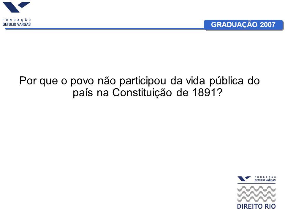 GRADUAÇÃO 2007 Constituição de 1891: Art 1º - A Nação brasileira adota como forma de Governo, sob o regime representativo, a República Federativa, proclamada a 15 de novembro de 1889, e constitui-se, por união perpétua e indissolúvel das suas antigas Províncias, em Estados Unidos do Brasil.