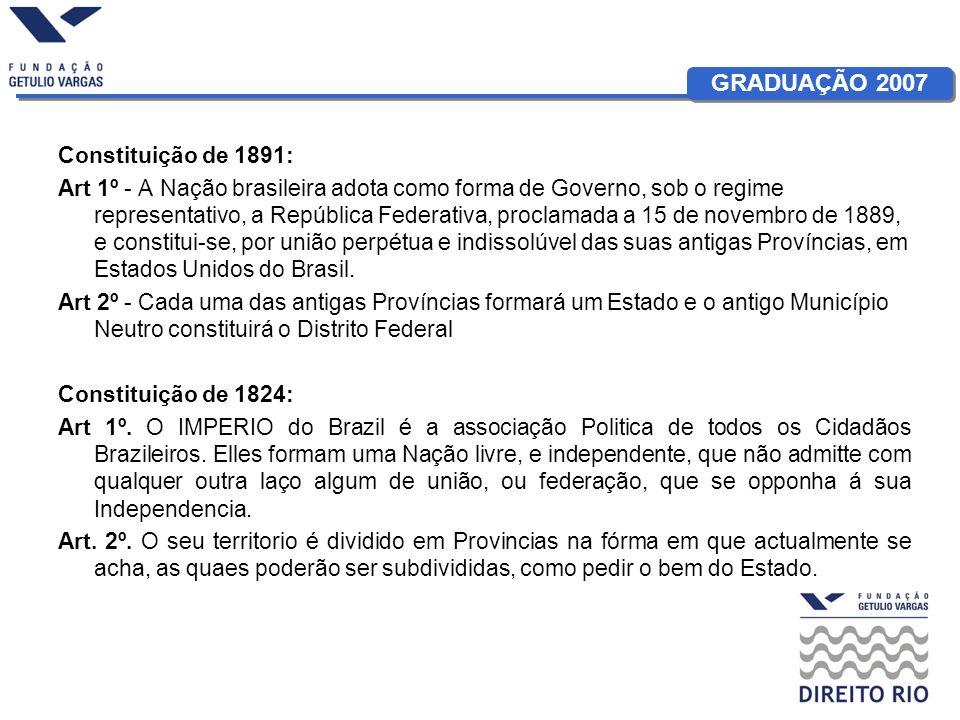 GRADUAÇÃO 2007 Constituição de 1891: Art 15.