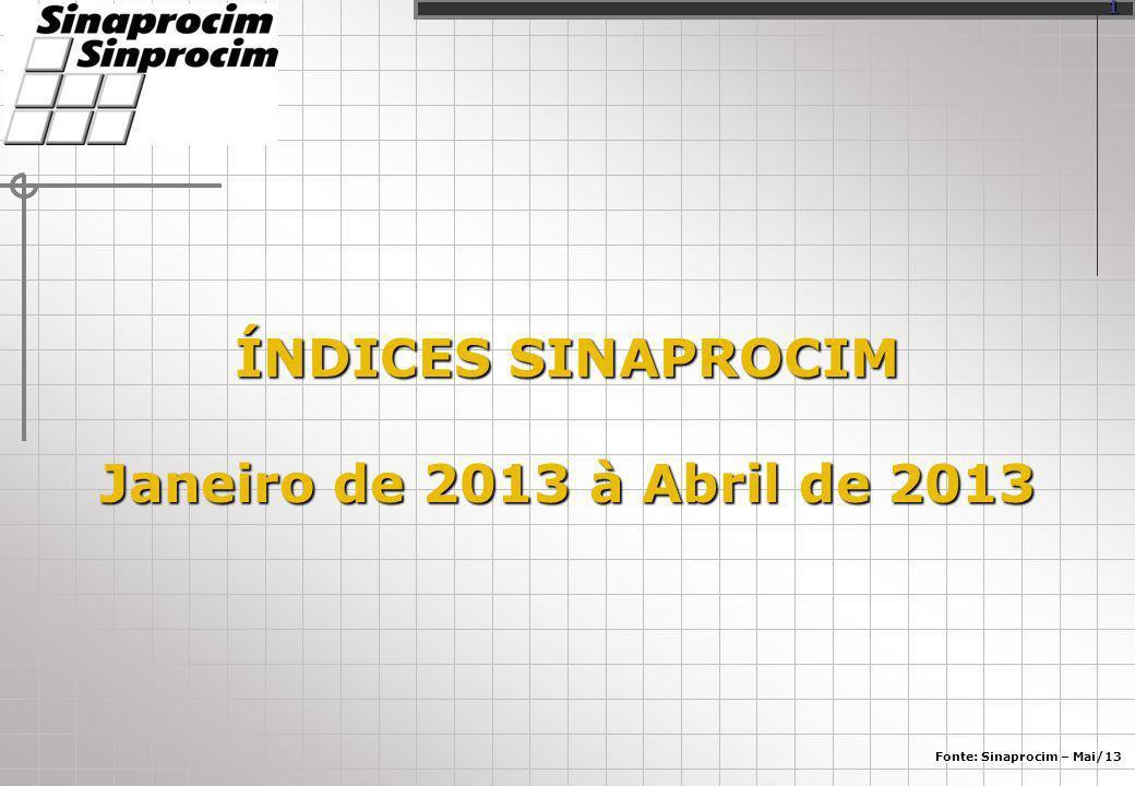 ÍNDICES SINAPROCIM Janeiro de 2013 à Abril de 2013 Fonte: Sinaprocim – Mai/13 1