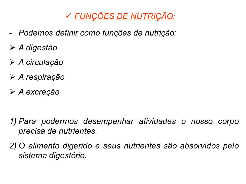 FUNÇÕES DE NUTRIÇÃO: 8% -Podemos definir como funções de nutrição: A digestão A circulação A respiração A excreção 1)Para podermos desempenhar ativida