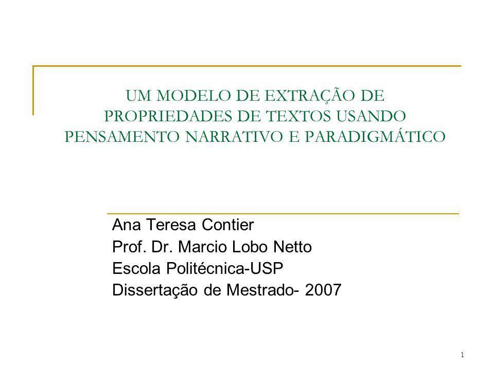 1 UM MODELO DE EXTRAÇÃO DE PROPRIEDADES DE TEXTOS USANDO PENSAMENTO NARRATIVO E PARADIGMÁTICO Ana Teresa Contier Prof. Dr. Marcio Lobo Netto Escola Po