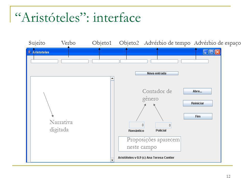 12 Aristóteles: interface SujeitoVerboObjeto1Objeto2 Advérbio de tempo Advérbio de espaço Narrativa digitada Contador de gênero Proposições aparecem n