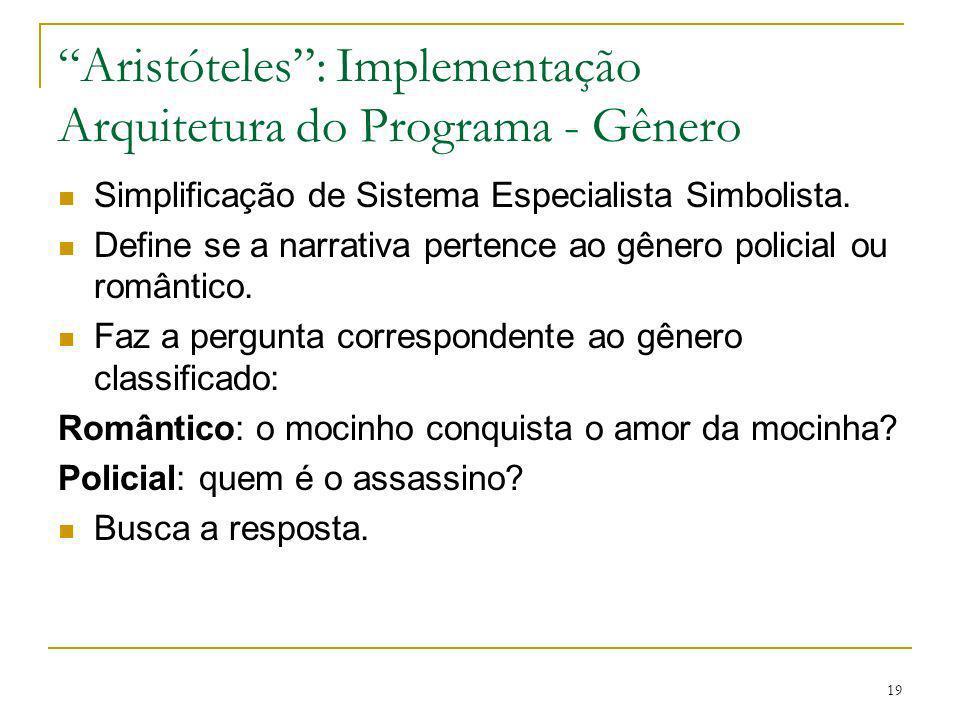 19 Aristóteles: Implementação Arquitetura do Programa - Gênero Simplificação de Sistema Especialista Simbolista. Define se a narrativa pertence ao gên