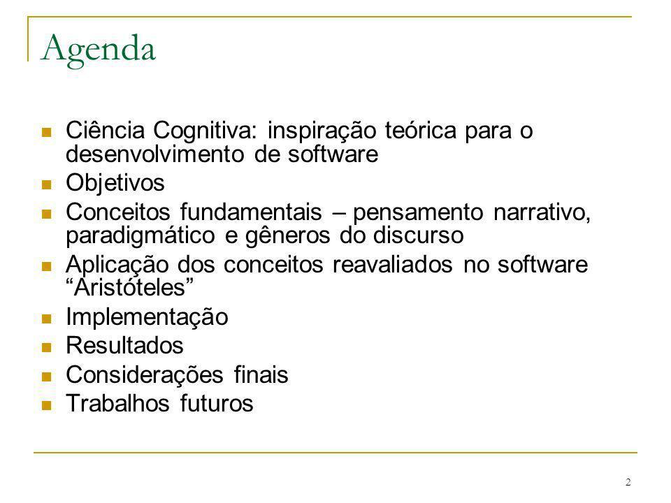 2 Agenda Ciência Cognitiva: inspiração teórica para o desenvolvimento de software Objetivos Conceitos fundamentais – pensamento narrativo, paradigmáti