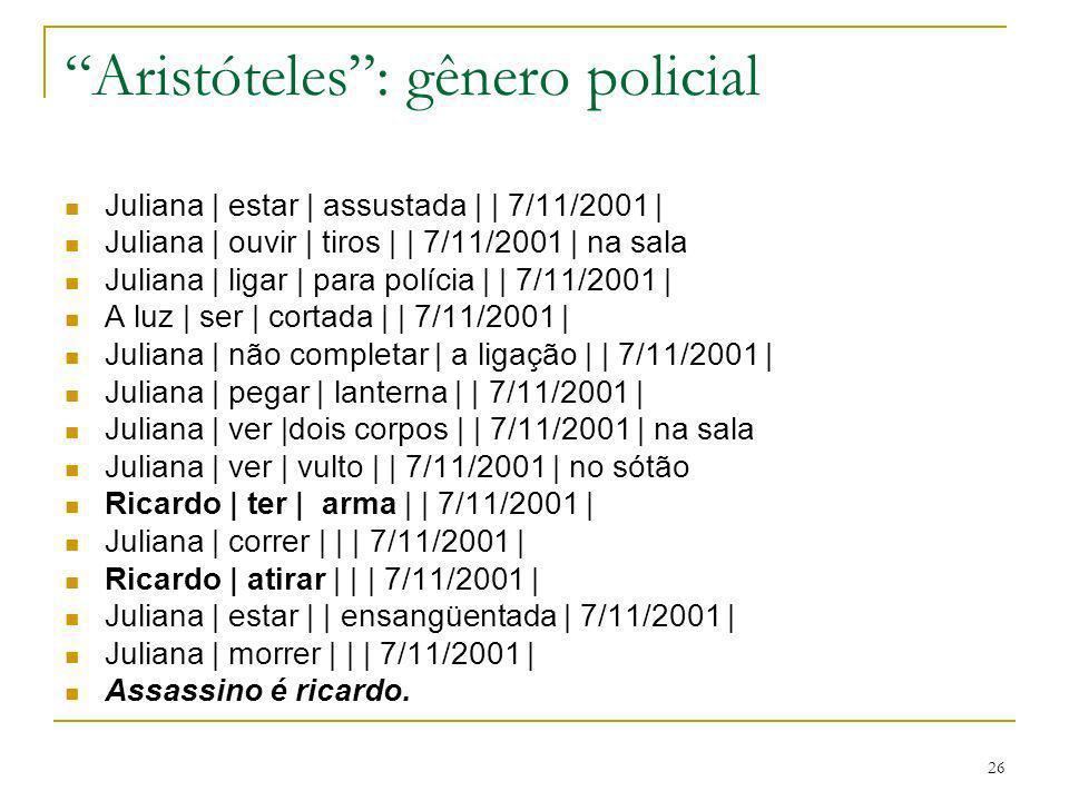 26 Aristóteles: gênero policial Juliana | estar | assustada | | 7/11/2001 | Juliana | ouvir | tiros | | 7/11/2001 | na sala Juliana | ligar | para pol