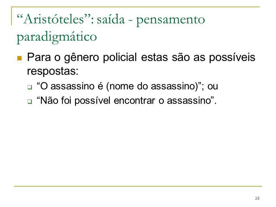 38 Aristóteles: saída - pensamento paradigmático Para o gênero policial estas são as possíveis respostas: O assassino é (nome do assassino); ou Não fo