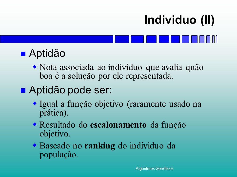 Algoritmos Genéticos Individuo (II) Aptidão Nota associada ao indíviduo que avalia quão boa é a solução por ele representada. Aptidão pode ser: Igual