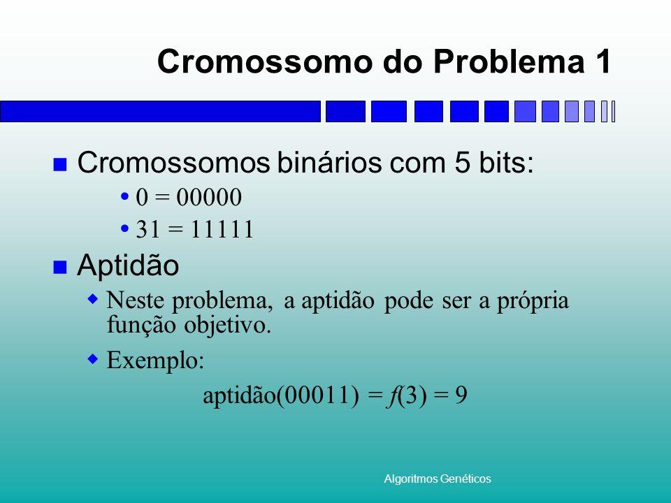 Algoritmos Genéticos Cromossomo do Problema 1 Cromossomos binários com 5 bits: 0 = 00000 31 = 11111 Aptidão Neste problema, a aptidão pode ser a própr